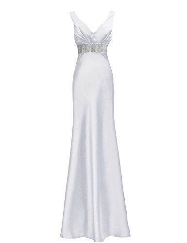 Dresstells®️️ V Neck Prom Dress Satin Evening Gown Long Bridal Dress White Size16 Was: $229.98  Now: $99.99