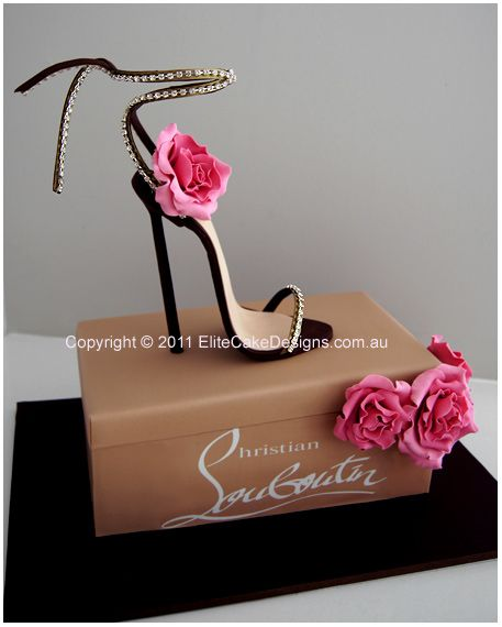 Wow!! Christian Louboutin Stiletto Novelty Birthday Cake - Christian Louboutin Stiletto novelty cake design. Shoe & flowers are finely hand sugarcrafted to detail.  Designer Cakes by EliteCakeDesigns