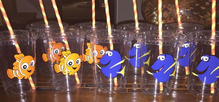 Finding Nemo Party, tropical party decor, finding nemo party cups, finding nemo party decor by ohsoaudreycreations on Etsy https://www.etsy.com/listing/253962112/finding-nemo-party-tropical-party-decor