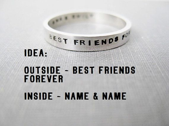 Quote Idea  Personalized Ring Best Friends by boutonrougedesigns, $39.00