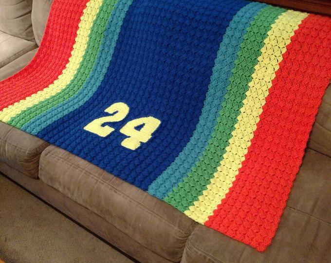 NASCAR Jeff Gordon arco iris Sprint coche afgano - NASCAR de bebé de Crochet-manta de coche número 24