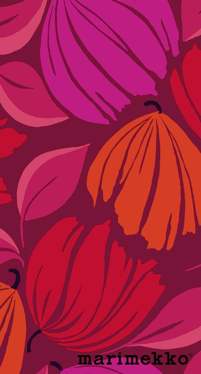 マリメッコ/花柄11 iPhone壁紙 Wallpaper Backgrounds iPhone6/6S and Plus Marimekko Floral Pattern iPhone Wallpaper
