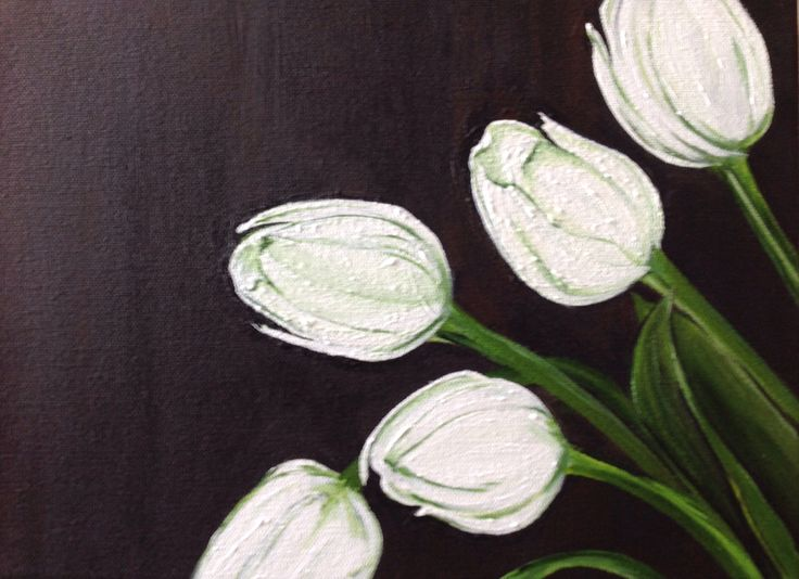White Tulips, 9x12, Acrylic on canvas, private collection
