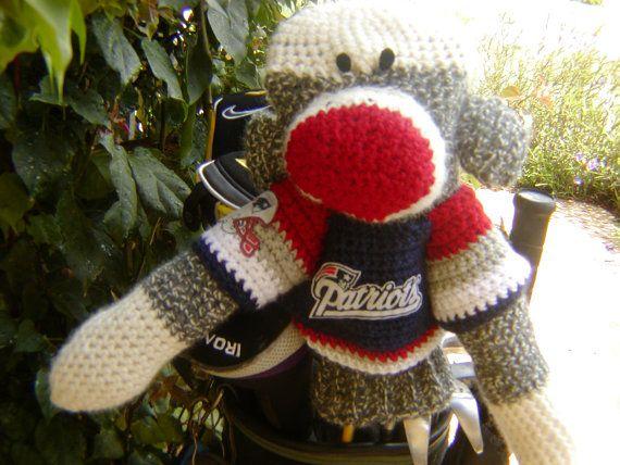 Sock Monkey Golf Club Cover  New England Patriots by pillowtalkswf, $40.00