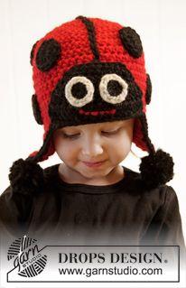 "DROPS Carnival: Crochet DROPS Lady bug hat with ear flaps in ""Eskimo"" ~ DROPS Design"