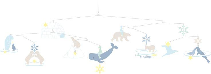 En kjempefin uro med isbjørner, igloer, hvaler og lignende vesener fra polarområdene. Monteringsinstruksjoner er inkludert i pakken,. Uroet festes enkelt ved hjelp av den medfølgende nylontråden.<br><br>Materiale: papir.<br><br>Farge: flerfarget.