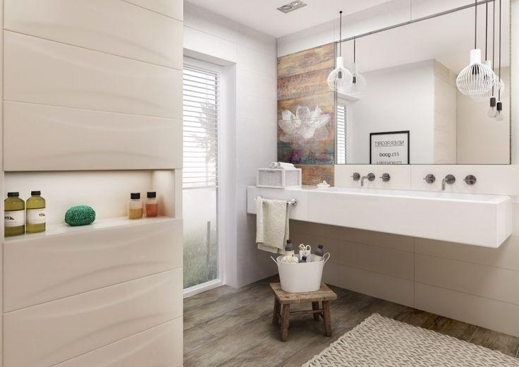 modernes bad in beige und creme, bodenfliesen in holzoptik, Wohnzimmer design