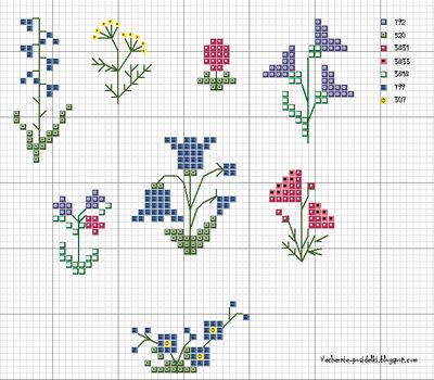 Cute little flower patterns for cross stitch.