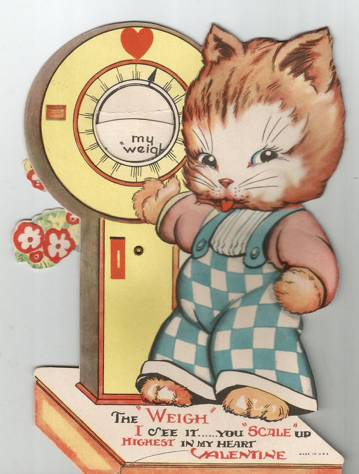 Vintage cute cat Valentine Valentine's Day card greeting digital download printable instant image by BigGDesigns on Etsy