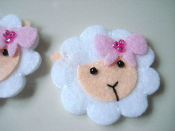 handmade felt Sheep with Pink bow. Could glue to a new baby card.