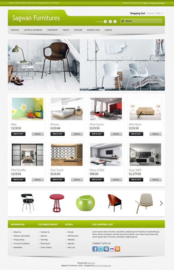 Sagwan Furnitures Opencart Theme its been developed in latest version of 1.5.1.3 Designed in 10 unique gradient color combinations. Can be use for any nature of ecommerce.