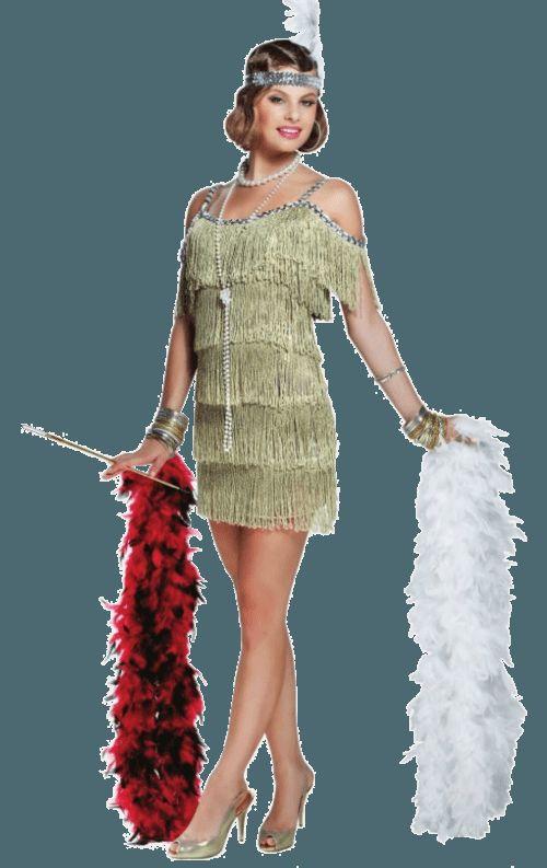 Champagne Flapper Jaren 20 Vrouw Kostuum - Feestkleding 365