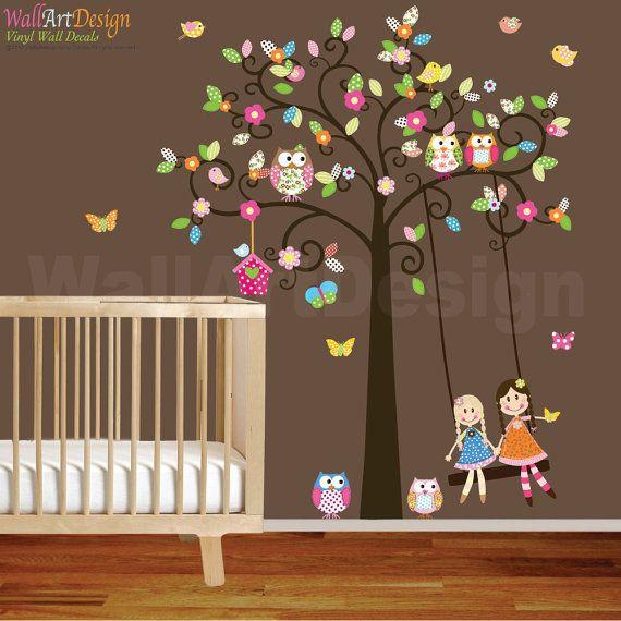 Vinyl Wall Decal Stickers Swirl Swing Tree Set with flowers,dolls,owls and birds Nursery Girls Baby via Etsy