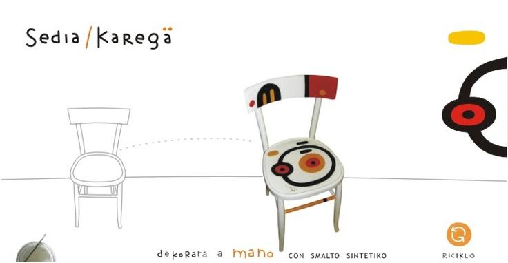Sedie dipinte a mano, vecchie sedie, recupero, riciclo, riciclato