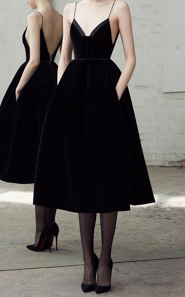 1c4c5921d65 Spaghetti Straps Tea Length Black Backless Prom Dress   fashion promdress eveningdress promgowns cocktaildress