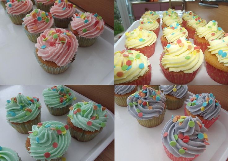 A few of the 110 cupcakes I made for my school prom back in 2012. All were vanilla sponge topped with fluffy vanilla buttercream.
