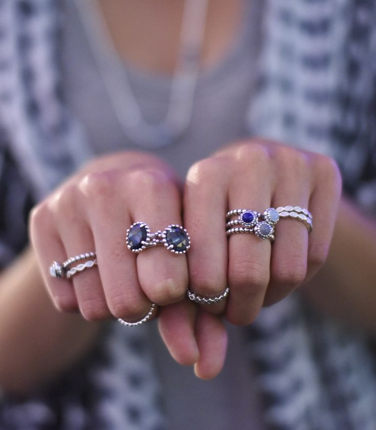 Edgy blue and sterling silver PANDORA ring style at the PANDORA and Siwy Denim fashion show at Coachella 2015. #PANDORAstyle