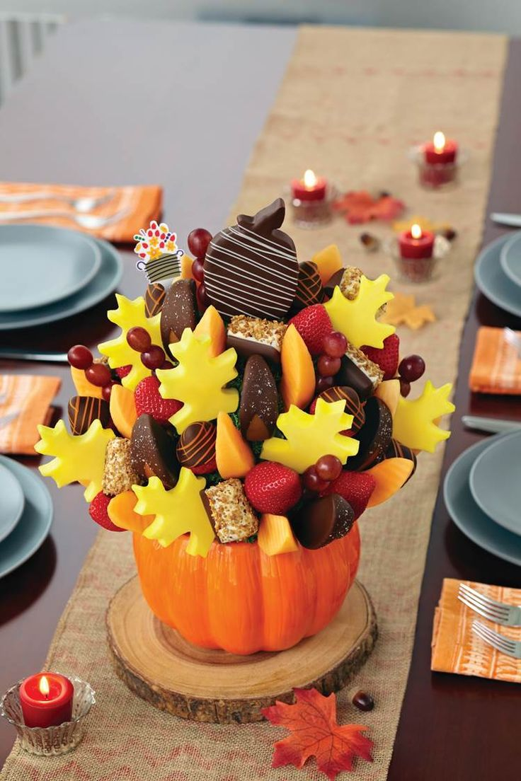 The perfect Thanksgiving centerpiece: this Salted Caramel Harvest Bouquet from Edible Arrangements! Use the code HPPY2016 to get 15% of any order over $50. Happy Thanksgiving!