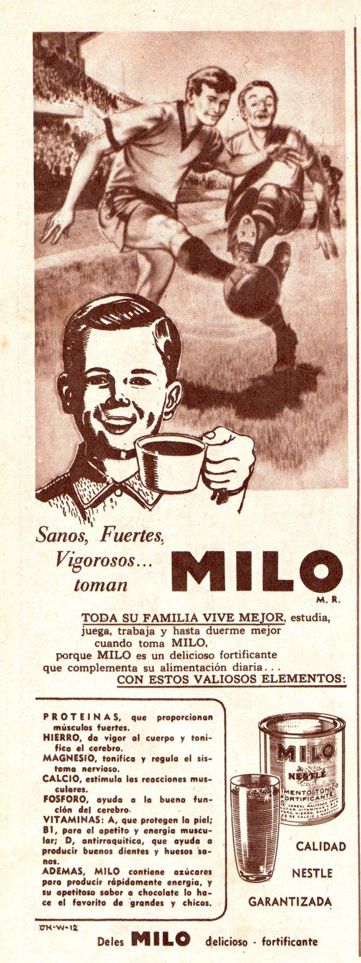 Sanos, Fuertes, Vigorosos... toman Milo. Calidad Nestle garantizada. Publicado en Revista Estadio N°785 de 13/06/1958.