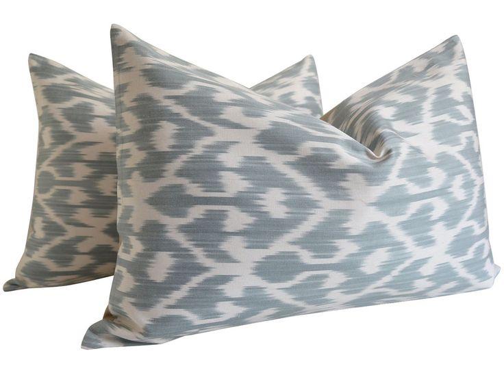 SALE 50% - Blue Gray Silk İkat Pillow ikat Bedding Chevron Pillow Geometric Pill #Handmade #AsianOriental