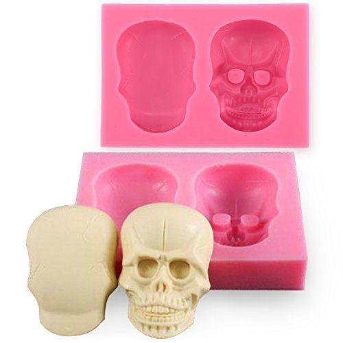 Anyana 3D Skull Silicone Mould Fondant Sugar Clay Jewellery Fimo Button Cake Mold Anyana