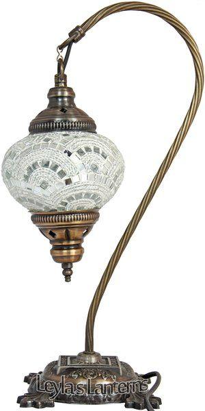 14 CM WHITE MOSAIC TURKISH TABLE TOP SWAN LAMP $60 + SHIPPING LEYLASLANTERNS.COM
