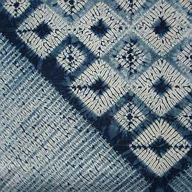 Callishibori - Indigo Squared 1994/5  100 cm square. Stitch resist with bound detail on cotton lawn.