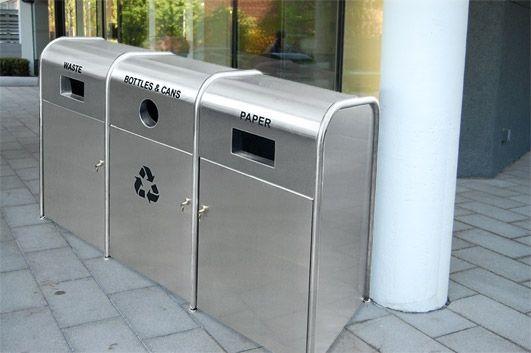 versatile & large capacity recycling bin; Green Street Triple Stream