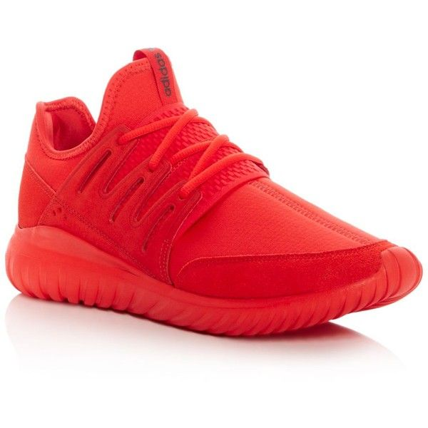 adidas Tubular Radial Lace Up Sneakers ($110) ❤ liked on Polyvore featuring men's fashion, men's shoes, men's sneakers, red, mens red sneakers, mens red shoes, mens mesh sneakers, adidas mens shoes and adidas mens sneakers