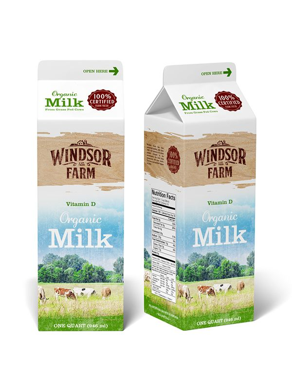Logo and packaging design for Windsor Farm dairy products.