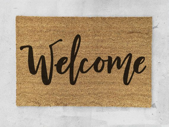 What a perfect way to greet your guests!  The mat measures 35 x 24. Latex backing keeps the mat firmly in place.