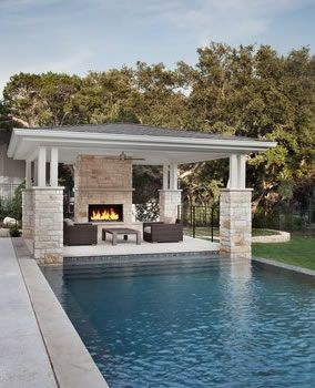 Swimming Pool Cabana Ideas metal pool buildings designs rustic yet refined pool cabana and new pool Like Integration With Pool Like Style And Colors How Links With Pool Coastal Pool Landscaping Pinterest More Fireplaces Decks And Pools Ideas