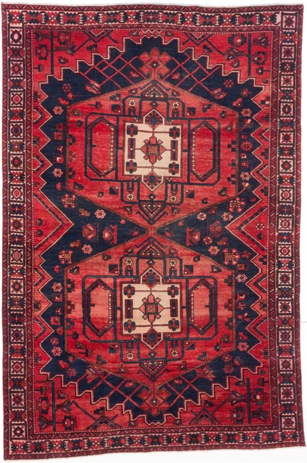 Hand knotted persian vintage dark navy red wool rug for Red and navy rug