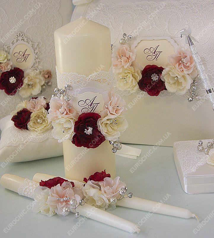 Свечи Семейный очаг FLOWERS & СRYSTALS бордовые