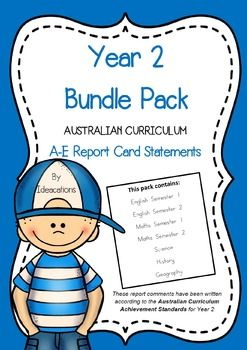 Now available Year 2 Bundle Pack! * Now UPDATED to align with V8.1 of the Australian Curriculum*Save valuable time and be confident your report comments are well-written and aligned to the Australian Curriculum Achievement Standards.This bumper Bundle Pack includes A-E comments for the entire year!