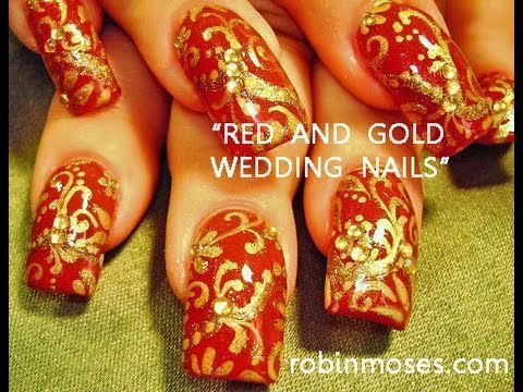 RED AND GOLD NAILS.  I'd prefer these colors on my toenails.