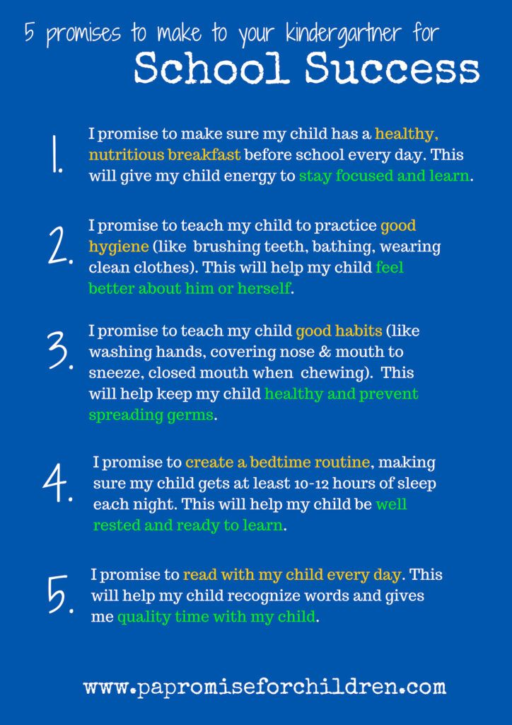 5 Promises For School Success Pa Promise For Children School Success School Success What can i teach my kindergartener at