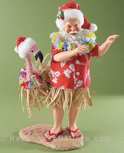 Birds of a Feather Hula Together. Santa and his flamingo ...
