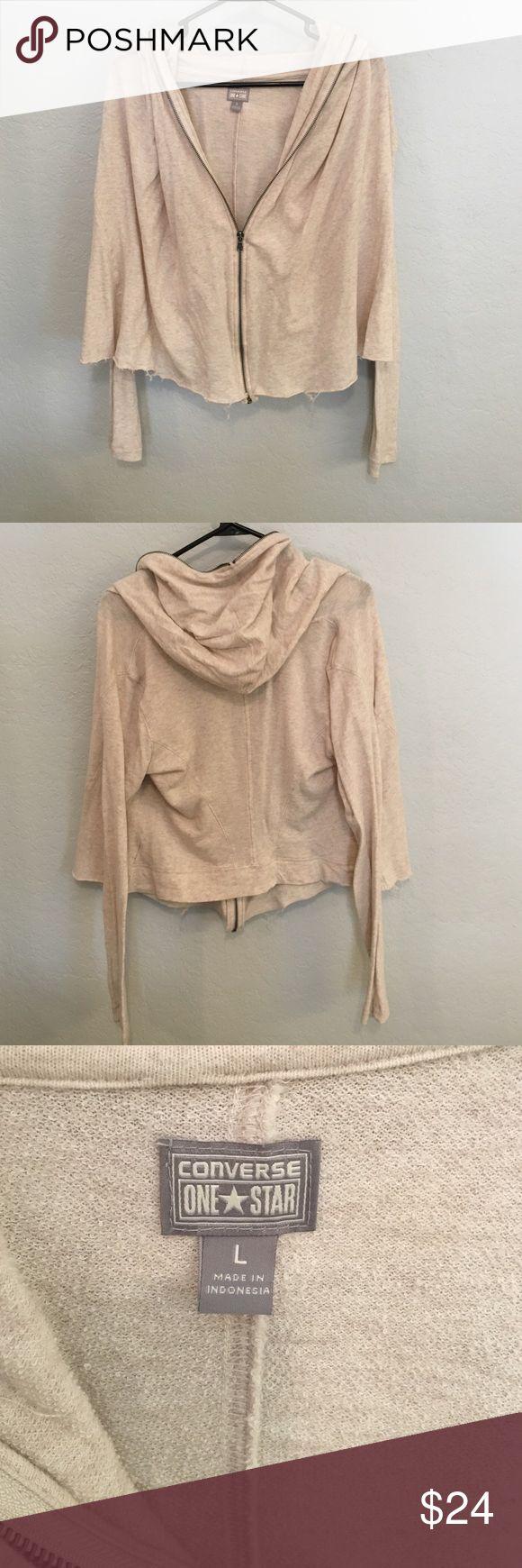 Converse zip hoodie Converse zip hoodie, size large. Oatmeal color. Raw hem by manufacturer. Converse Tops Sweatshirts & Hoodies