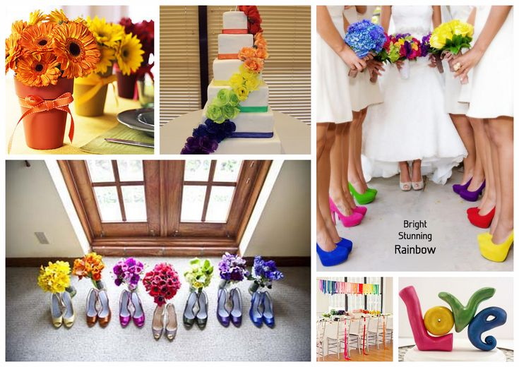 Funky Rainbow Colour Wedding Theme