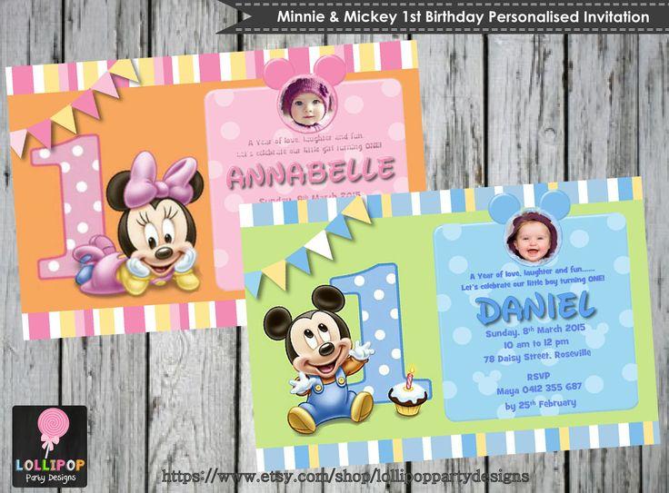 MICKEY 1st Birthday Invitation - Minnie 1st Birthday Invite - Personalised - Printable - Invites - Digital Print - DIY - 1st Birthday Party by LollipopPartySupplies