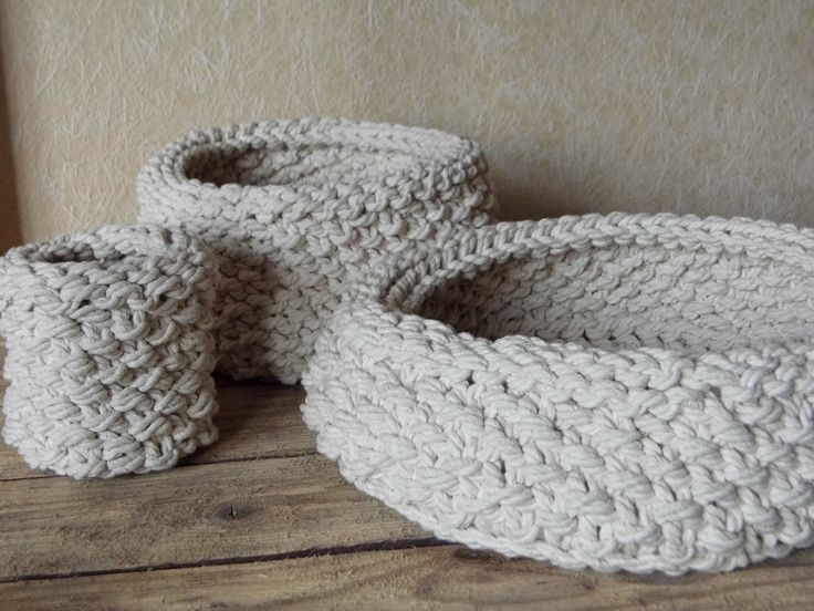 Set of baskets, hand knit cotton rope by KnitJoys
