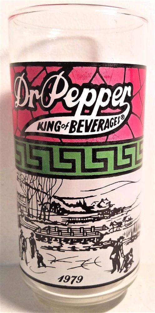 Dr. Pepper King of Beverages 1979 Country Skating Scene Burger King Glass #DrPepper