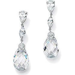 PalmBeach CZ Sterling Silver Cubic Zirconia Dangle Earrings Glam CZ