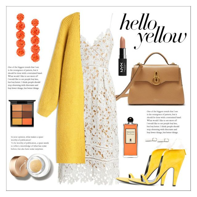 """""""Egg yellow"""" by lavandel ❤ liked on Polyvore featuring Mulberry, Sans Souci, Calvin Klein 205W39NYC, Chicwish, Sachin + Babi, MAC Cosmetics, Jane Iredale, Serge Lutens, NYX and PopsOfYellow"""