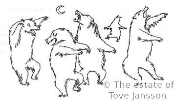 Tove Jansson's illustrations to J. R. R. Tolkien: Bilbo – en hobbits äventyr, Rabén & Sjögren, 1962, p. 136 - Bears under the moon