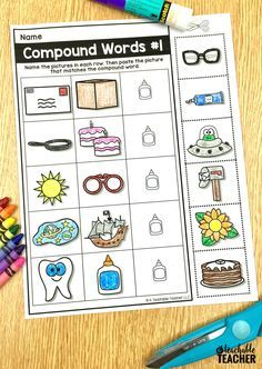 Free printable compound words activity. 100% picture-based phonemic awareness worksheets | phonemic awareness activities | phonemic awareness worksheets | compound word worksheets | reading | struggling readers | teaching reading | reading kindergarten |