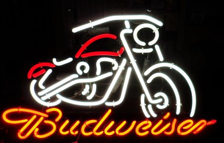 RARE BUDWEISER Motorcycle Neon Bar Sign, Circa 2000