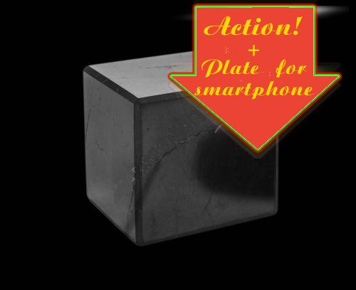 Cube schungite + Plate for smartphone.ACTION! Have time to get the goods on the action! by ShungiteofKarelia on Etsy