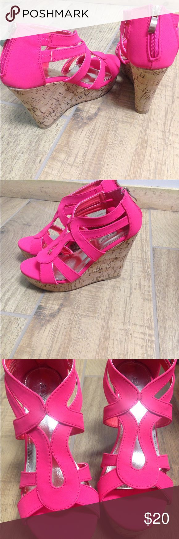 Susie's Hot Pink Wedges Hot Pink Wedges ! Beautiful and comfortable to wear working all day. Shoes Wedges